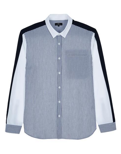 블루 스트라이프배색 면 긴팔캐주얼셔츠