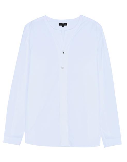 화이트 면 노카라 긴팔캐주얼셔츠