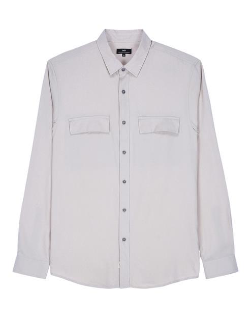 베이지 플랩포켓 긴팔캐주얼셔츠