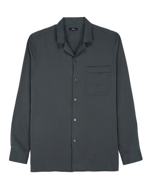 카키 오픈카라 긴팔캐주얼셔츠