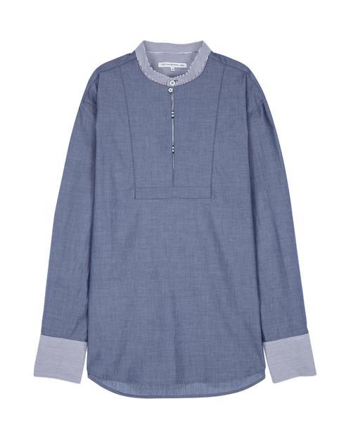 [TNGTX제너럴 아이디어] 네이비 스트라이프배색 면 셔츠
