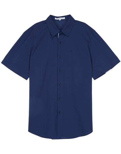 [TNGTX제너럴 아이디어] 네이비 스트라이프자수장식 면 반팔셔츠