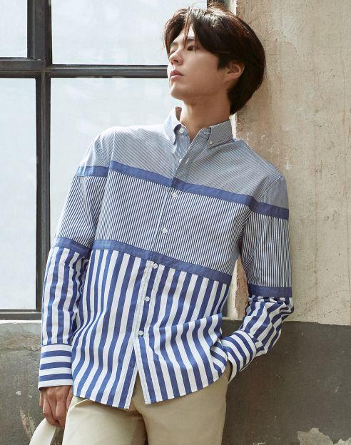 [TNGTX제너럴 아이디어] 블루 스트라이프 면 캐주얼셔츠