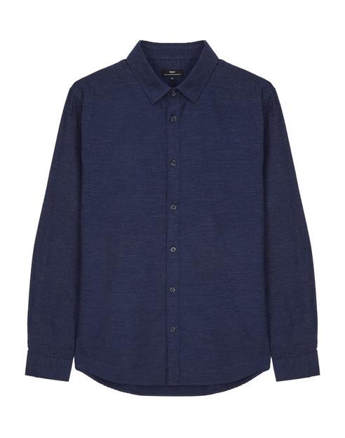 네이비 멜란지 면 긴팔캐주얼셔츠