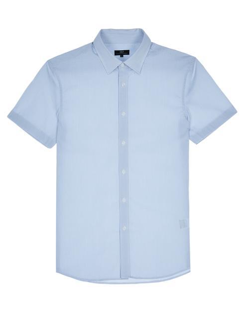 네이비 잔체크 면혼방 반팔드레스셔츠