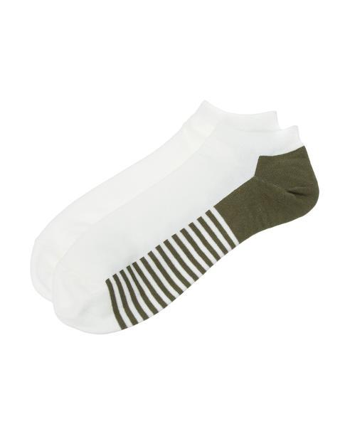 카키 스트라이프배색 면혼방 발목양말