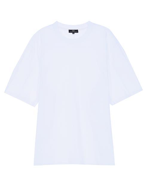 [오버핏 사이드 절개]화이트 단색 면 반팔티셔츠