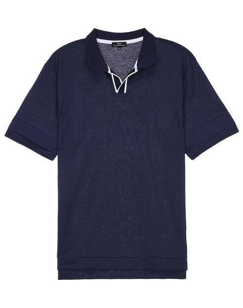 네이비 블록배색 반팔카라티셔츠