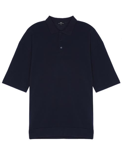 네이비 지퍼장식 면혼방 반팔카라티셔츠