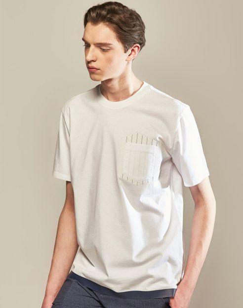 화이트 라인배색 면 반팔티셔츠