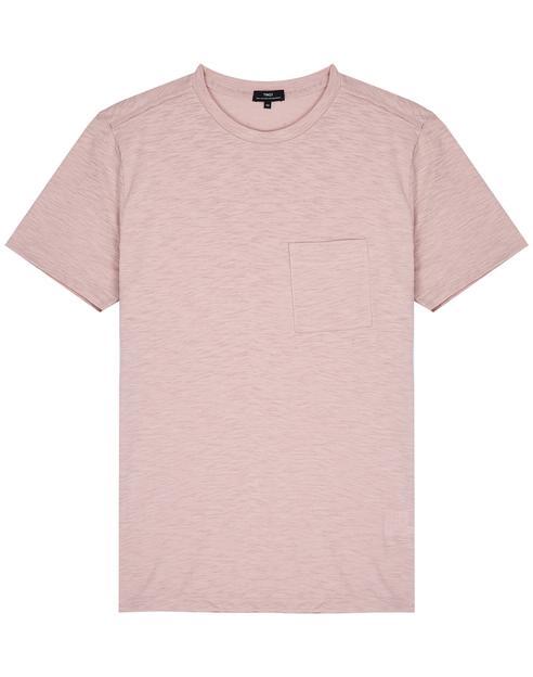 핑크 워싱면혼방 라운드넥 반팔티셔츠