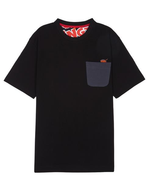 [삼양라면 X TNGT]블랙 자수배색 면 반팔티셔츠