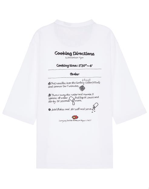 [삼양라면 X TNGT]화이트 자수장식 면 7부티셔츠