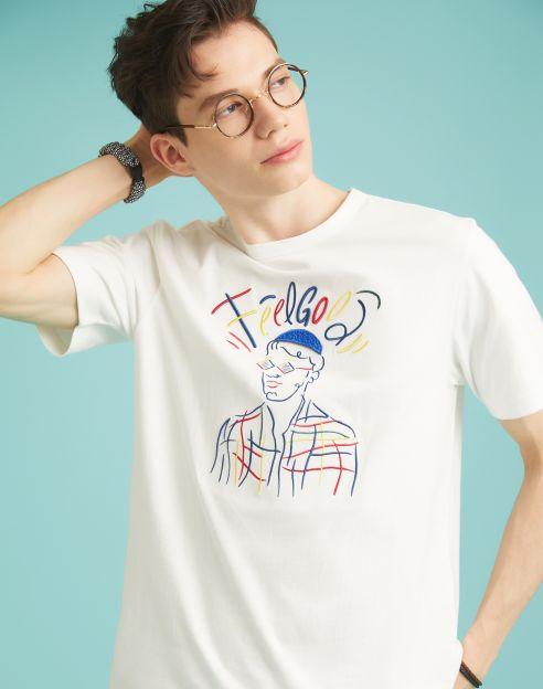 [재입고]'FEEL GOOD' 멀티컬러자수 티셔츠