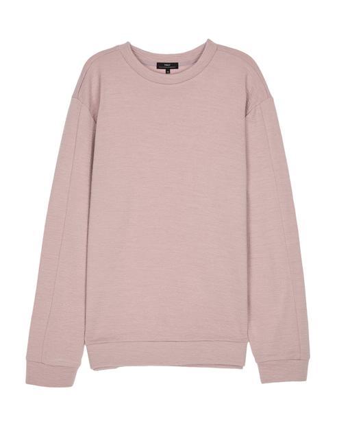 핑크 멜란지 면혼방 긴팔티셔츠