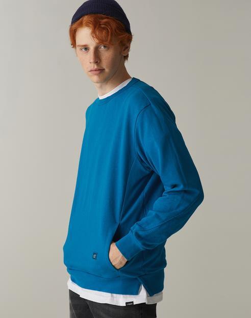 [TEAL BLUE] 백 래글런 오버핏 포켓 맨투맨