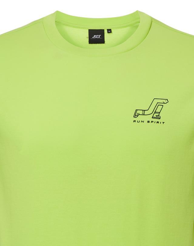 질스튜어트 스포츠 뉴욕(JILLSTUART SPORT NEWYORK) JISS Small Logo T 1 라임 로고프린트 면혼방 남자 반팔티셔츠 JMTS1B480L1