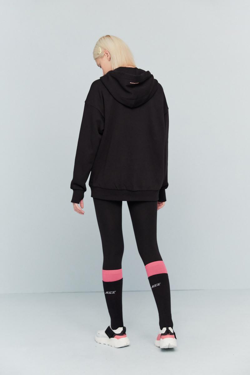 질스튜어트 스포츠 뉴욕(JILLSTUART SPORT NEWYORK) [soft touch long hoodie] 블랙 로고배색 면혼방 여자 후드집업 JFJU0D541BK