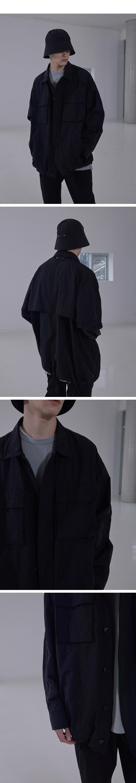 일꼬르소(IL CORSO) 블랙 오버핏 메탈릭 화섬 셔켓 IEJU1E007BK
